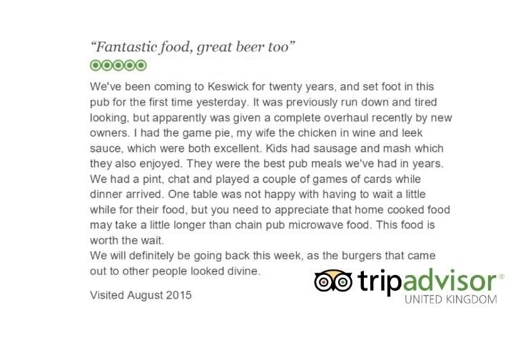 The Wainwright keswick: Trip Advisor Review 3